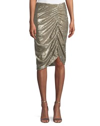 Nanette Lepore Silver Screen Ruched Sequin Skirt Champagne