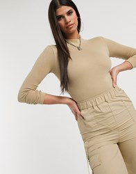 Daisy Street Ribbed High Neck Bodysuit In Taupe Brown