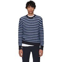 Prada Navy And Blue Striped Alpaca Crewneck Sweater F0d1y Nvycl
