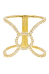 18K Gold Plated Sterling Silver Cz Accented Cage Ring No Color