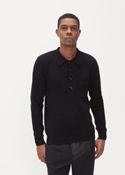 Cmmn Swdn 'S Curtis Modern Knit Long Sleeve Polo Shirt In Black Size Small 100 Cotton