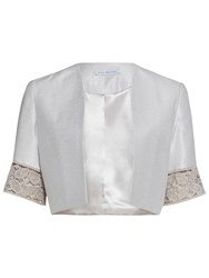 Gina Bacconi Crepe Chine And Antique Foiled Lace Jacket Taupe