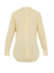 Finamore 1925 Lorenzo Band Collar Brushed Cotton Poplin Shirt Yellow