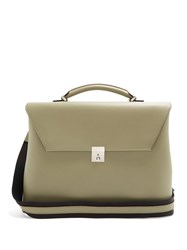 Valextra Grained Leather Briefcase Green