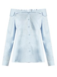 Tibi Off The Shoulder Button Through Cotton Top Light Blue