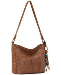 The Sak Indio Leather Demi Bucket Bag A Macy's Exclusive Style Tobacco Floral Embossed