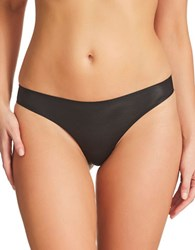 Fine Lines Low Rise Stretchable Thongs Black