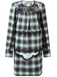 N 21 Nao21 Checked Lace Panel Dress Blue