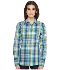 Roper 0830 Water Check Plaid Blue Women's Clothing