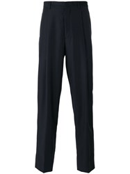 E. Tautz Pleated Tailored Trousers Virgin Wool Silk Viscose Blue