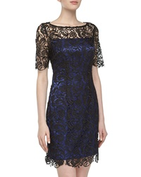 Laundry By Shelli Segal Short Sleeve Lace Dress Black Blue