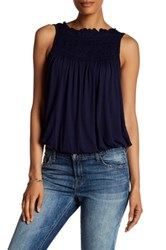 Max Studio Pleat Yoke Bubble Hem Tank Blue
