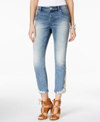 Inc International Concepts Curvy Fit Cropped Embroidered Jeans Only At Macy's Indigo