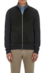 Fioroni Men's Suede Inset Wool Cashmere Cardigan Dark Grey Black Tan Dark Grey Black Tan
