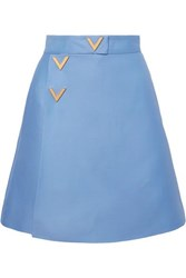 Valentino Wool And Silk Blend Wrap Effect Mini Skirt Blue