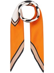 Burberry Logo Print Silk Square Scarf Orange