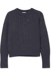 Brunello Cucinelli Sequin Embellished Cable Knit Cashmere And Silk Blend Sweater Midnight Blue