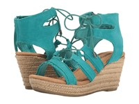 Minnetonka Leighton Turquoise Suede Women's Wedge Shoes Blue
