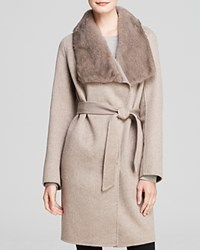 Maximilian Cashmere Blend Coat With Long Hair Mink Collar Grey Cameo