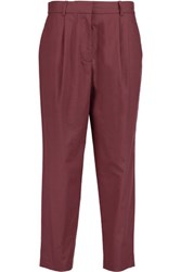 Acne Studios Onno Pop Suit Cropped Cotton Poplin Tapered Pants Plum