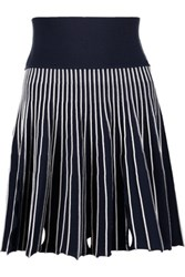 Opening Ceremony Cutout Ribbed Stretch Knit Mini Skirt Storm Blue