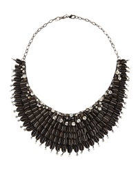 Deepa Gurnani Accordion Bib Beaded Necklace Black