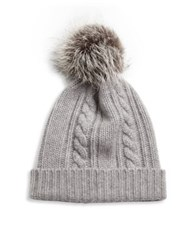 Saks Fifth Avenue Fox Fur Pom Pom And Cashmere Cable Hat Grey