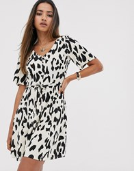 Mango Button Front Printed Dress In Multi