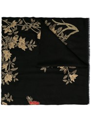 Janavi Embroidered Rose Garden Scarf Black