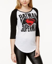 Bioworld Juniors' Batman Superman Graphic Baseball T Shirt