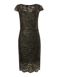 Untold Lace Dress With Overlay Top And Scallop Edge Black Gold