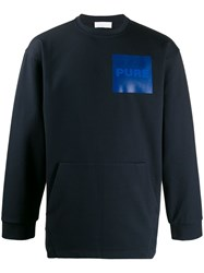 Haikure Jay Chest Patch Sweatshirt Blue
