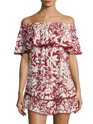 Red Carter Off The Shoulder Cotton Cover Up Dress Ruby