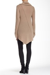 Cullen Seam Detail Asymmetrical Cowl Neck Cashmere Sweater Beige