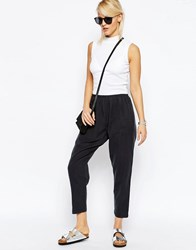 Asos Washed Casual Tapered Peg Trousers Charcoal Grey