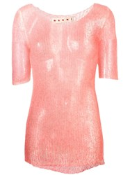 Marni Sheer Knitted Sweater Pink