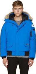 Canada Goose Blue Fur And Down Pbi Chilliwack Bomber