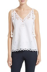 Theory Women's Wiola Embroidered Eyelet Tank