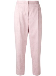 Msgm Cropped Trousers Pink Purple