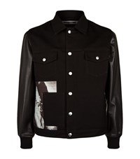 Mcq By Alexander Mcqueen Leather Sleeve Graphic Panel Denim Jacket Male Black