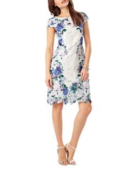 Phase Eight Laser Cut Floral Overlay Sheath Dress White Multi