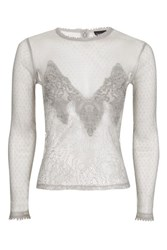 Topshop Sequin Lace Mesh Long Sleeve Top Silver