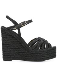 Saint Laurent Espadrille 95 Wedge Sandals Black