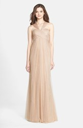 Women's Jenny Yoo 'Willow' Convertible Tulle Gown Tuscan Beige