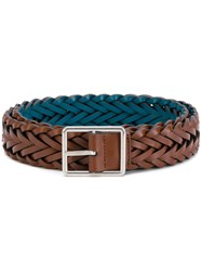 Paul Smith Woven Buckled Belt Calf Leather Zamac Blue