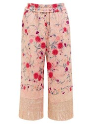 By Walid Dania Cropped 19Th Century Silk Trousers Pink Multi