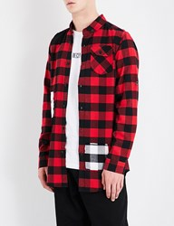 Boy London 1976 Checked Regular Fit Cotton Flannel Shirt Black Red