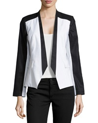 Paperwhite Colorblock Linen Blend Blazer Black White