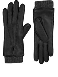 Barneys New York Women's Extended Cuff Leather Gloves Black Dark Grey Black Dark Grey