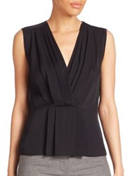 Rebecca Taylor Solid Ruched Sleeveless Top Black